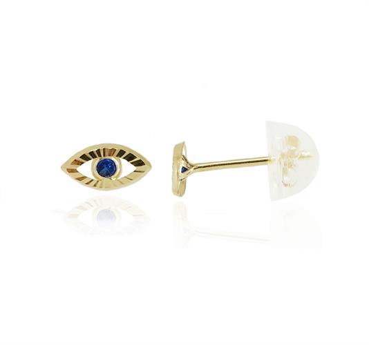 עגיל עין הרע קטן ועדין עם אבן זרקון כחולה עשוי זהב 14 קרט