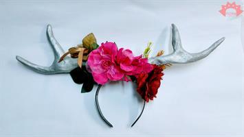 הד פיס קרני אייל פרחים ונוצות - קשת צבעונית מעוצבת