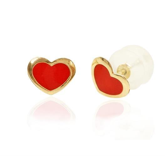 עגילי ילדות לב אדום מזהב עגילים לילדות בזהב 14K