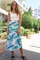 חצאית מעטפת הדפס טרופי עלים