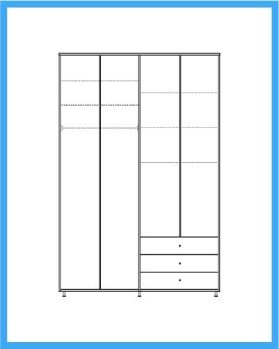ארון 4 דלתות 3 מגירות דגם מאלגה