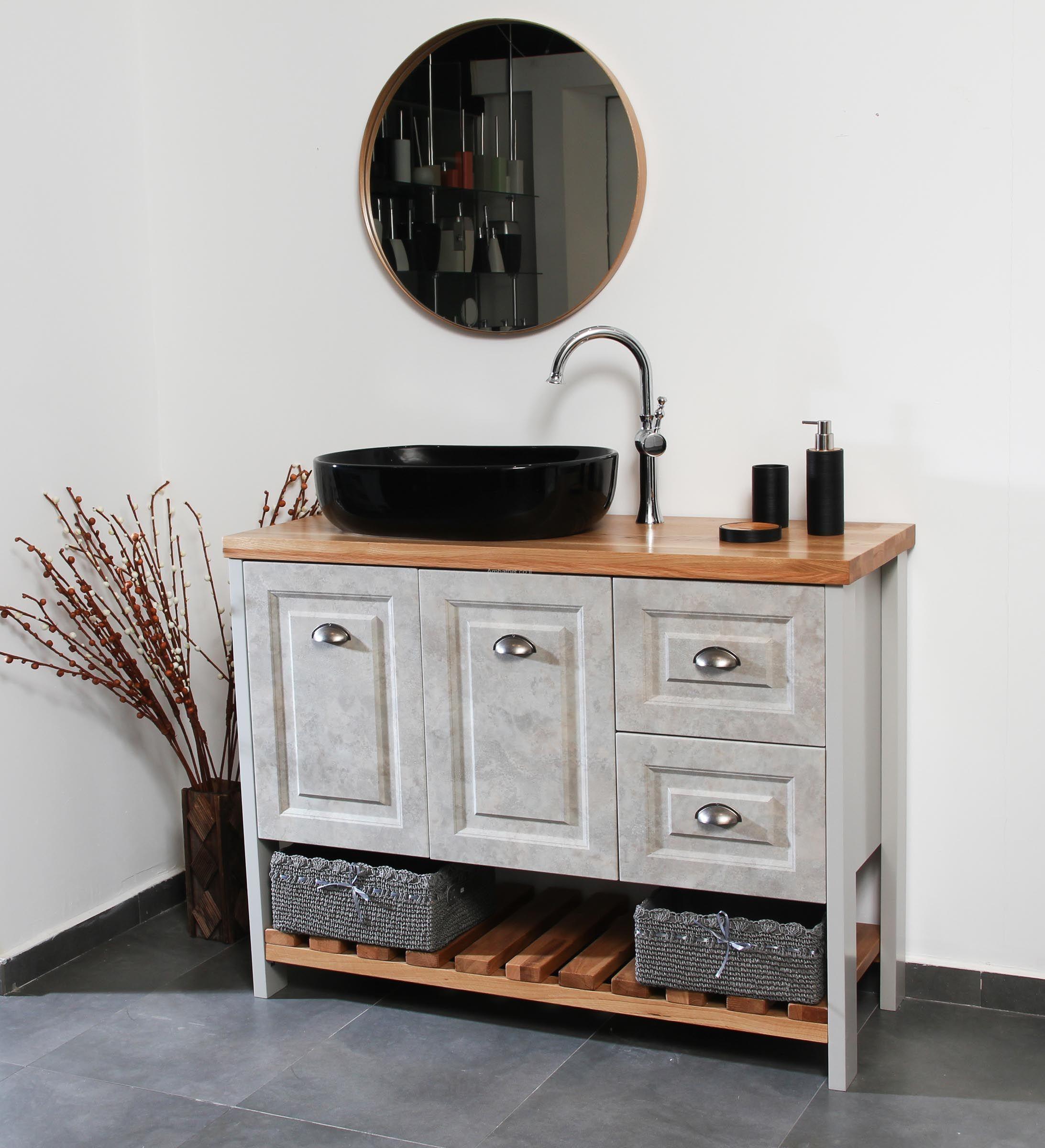 ארון אמבטיה בטון עומד בשילוב עם עץ אלון מבוקע
