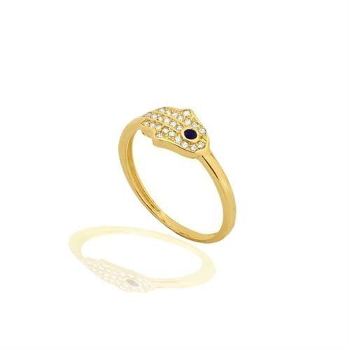 טבעת חמסה אבן ספיר כחולה ויהלומים