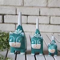סט פסלוני חתולים מעץ