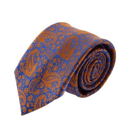 עניבה קלאסית פייזלי חום כחול