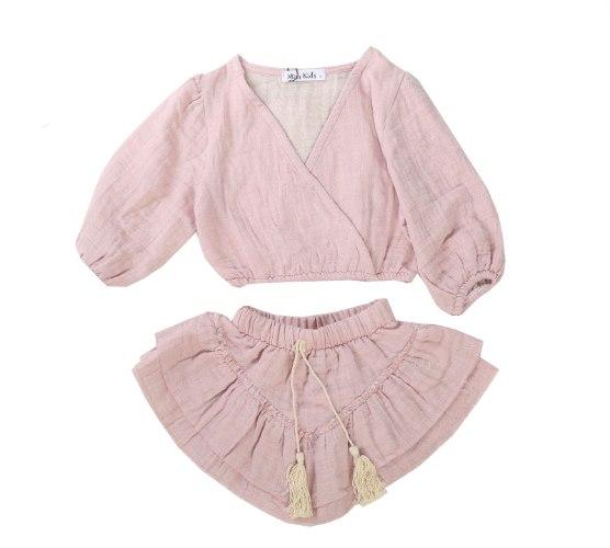 חליפת חצאית פשתן ורודה  - 2-16