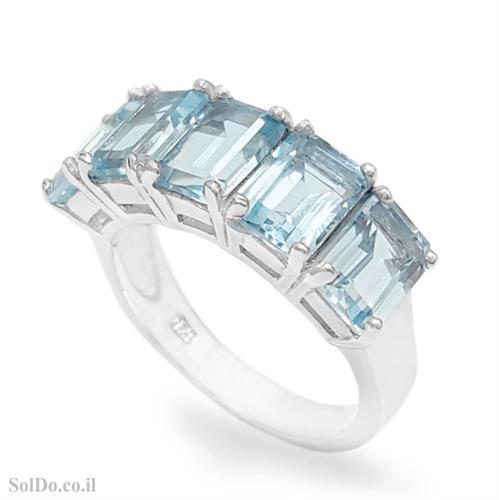 טבעת מכסף משובצת אבני טופז כחולה RG6133 | תכשיטי כסף 925 | טבעות כסף