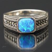 טבעת כסף משובצת Marcasite ואופאל כחול RG9081
