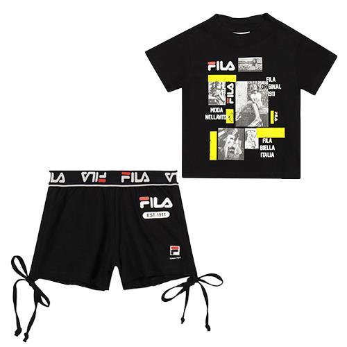 חליפה קצרה שחורה עם לוגו FILA