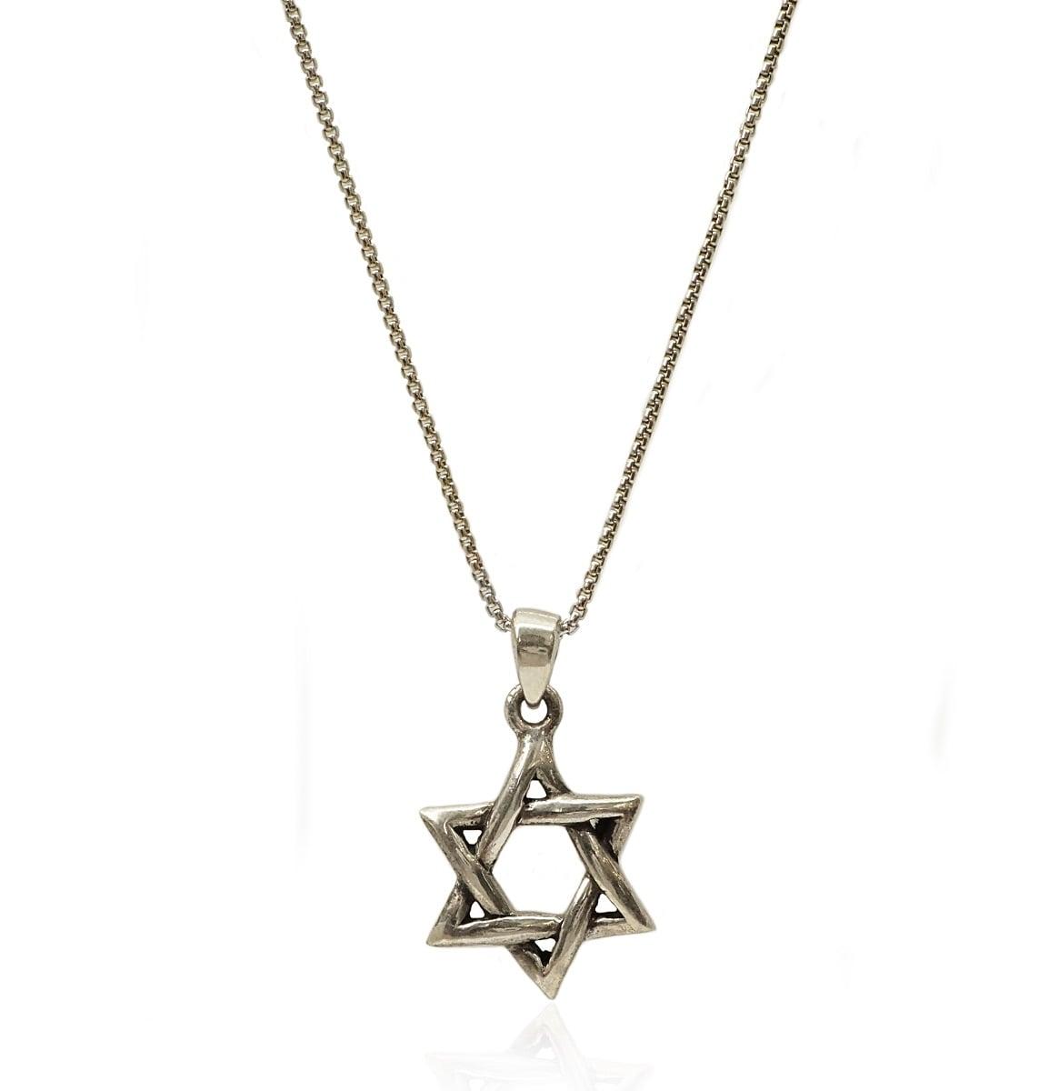 שרשרת ותליון מגן דוד  מכסף 925 מושחר