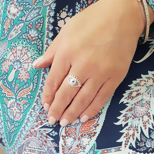 טבעת כסף 925 עין עם ריסים משובצת אבן