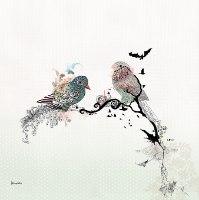 קיר גלריה - ציפורים ועלים