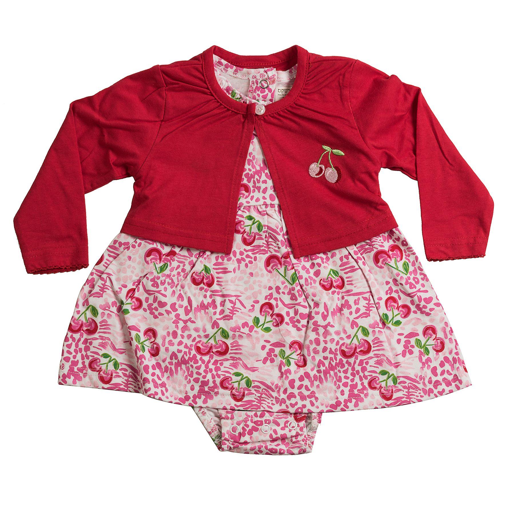 שמלת אוברול ועליונית ורוד - אדום