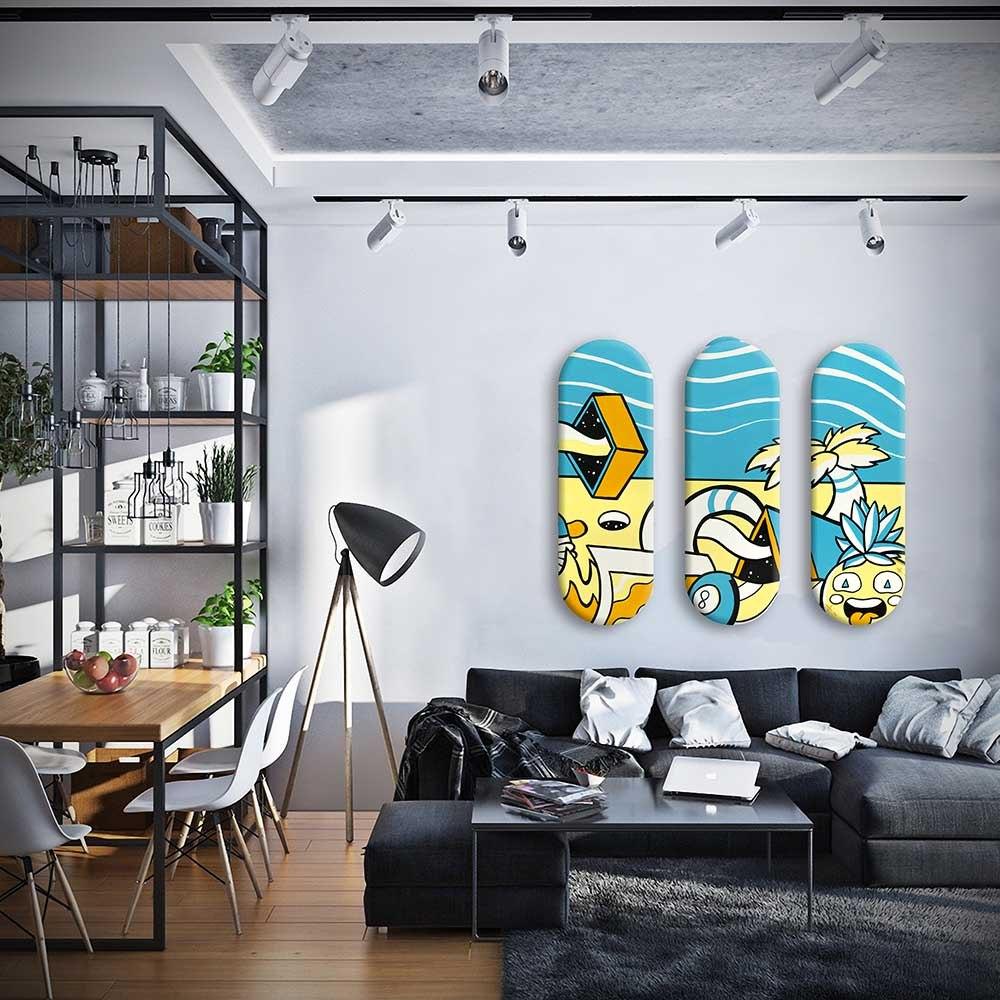 סט 3 סקייט ארט צבעוניות להלבשת הבית של האמן כפיר תג'ר