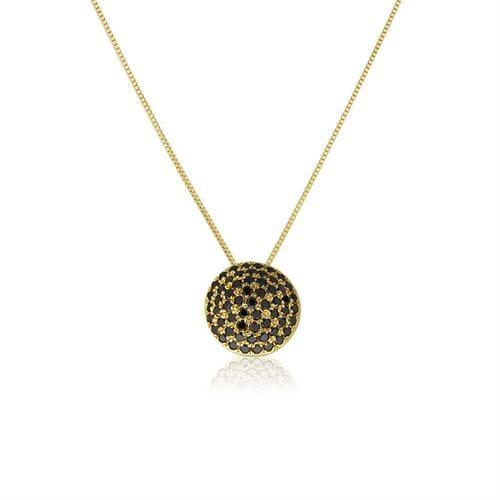 שרשרת ותליון זהב 14 קרט משובצת יהלומים שחורים 0.55 קראט