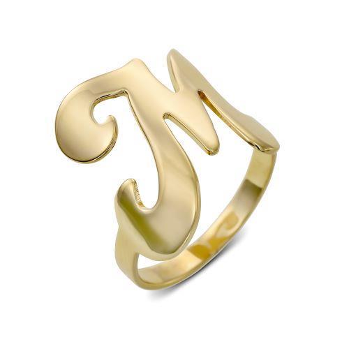 טבעת אות מקומרת כסף 925/גולדפילד