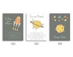 סט של 3 תמונות השראה מעוצבות לתינוקות, לסלון, חדר שינה, מטבח, ילדים - תמונות השראה שלישיית חלל