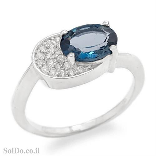 טבעת מכסף משובצת אבן טופז כחולה  וזרקונים RG8766 | תכשיטי כסף 925 | טבעות כסף