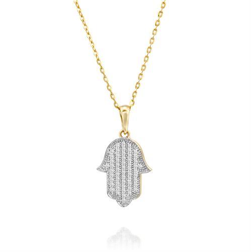 שרשרת ותליון מתנת החיים משובצת יהלומים בזהב לבן או צהוב 14 קראט
