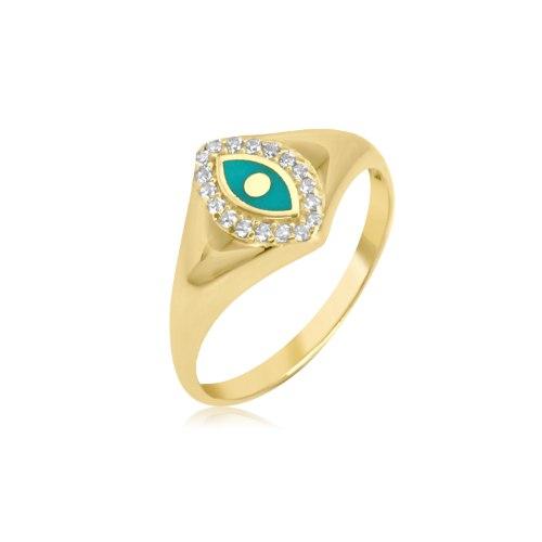 טבעת חותם זרקונים זהב צהוב , זהב 14 קאראט
