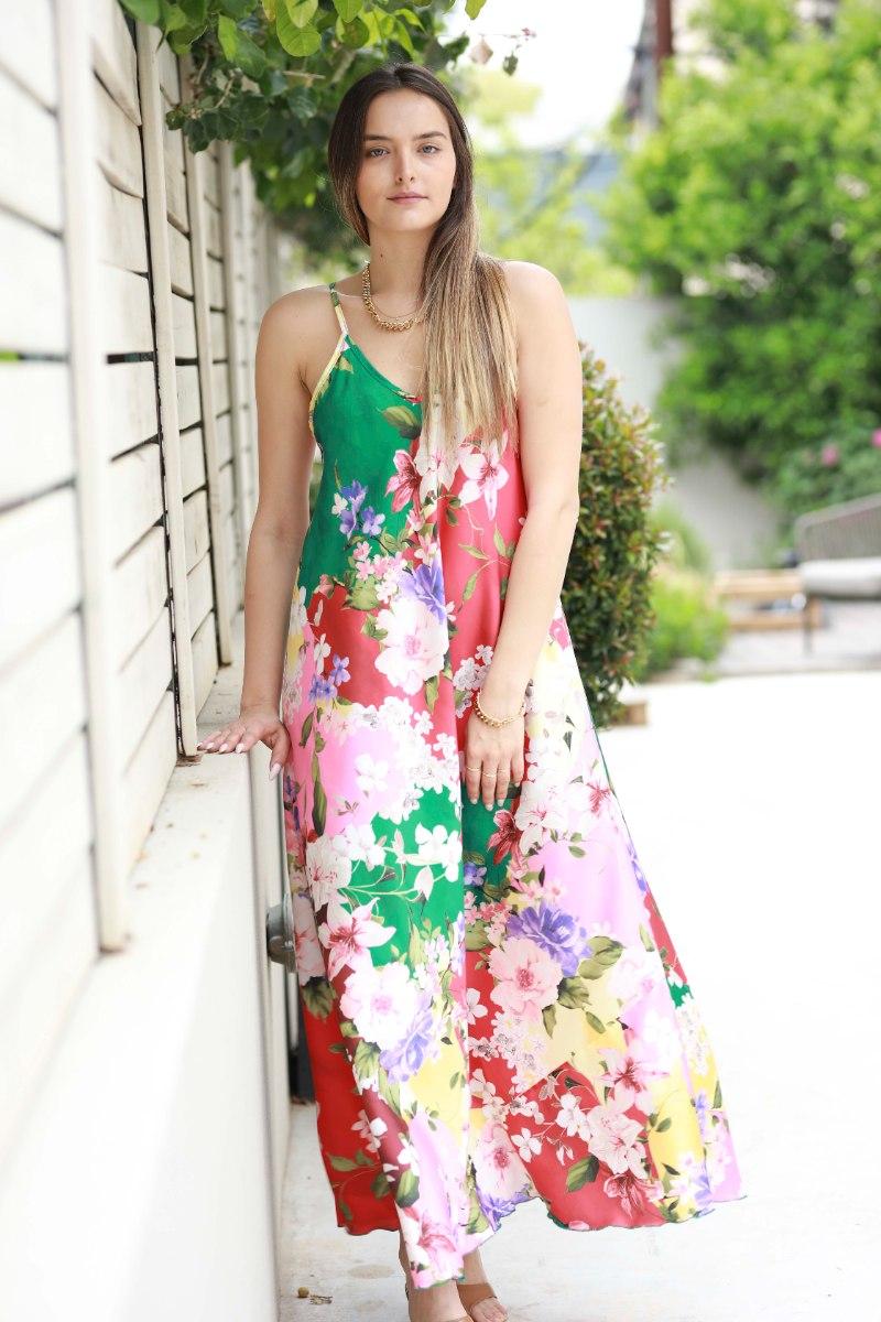שמלת סאטן  פרחונית
