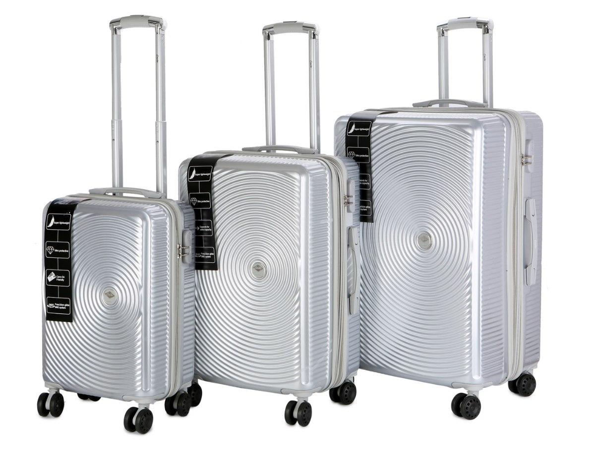 סט 3 מזוודות יוקרתיות של המותג האוסטרלי Courier - צבע כסוף