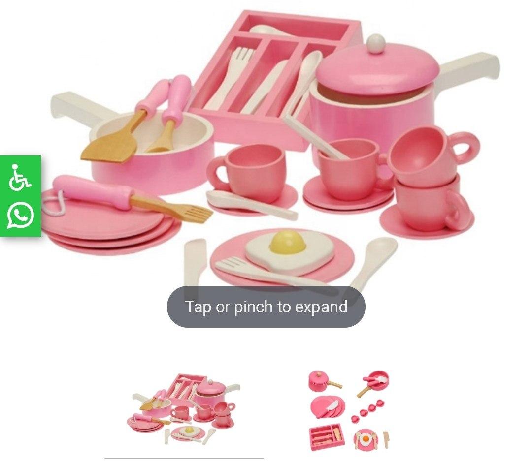 כלי מטבח ומסיבת תה מעץ מלא לילדים בצבע ורוד, קפיץ קפוץ