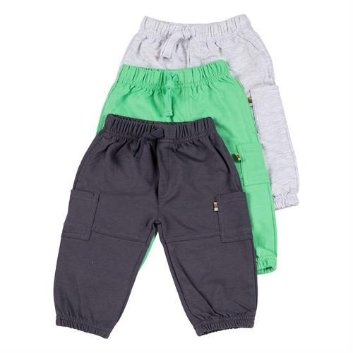 שלישיית מכנסי פרנץ' טרי - 3034 אפור - ירוק - אפור מלאנג'