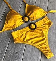 ביקיני צהוב חרדל תחתון גבוה