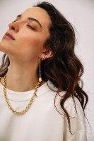 עגילי ליליאן פנינה שנהב זהב