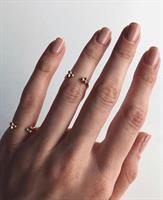 טבעת כדורים זרת פתוחה זהב