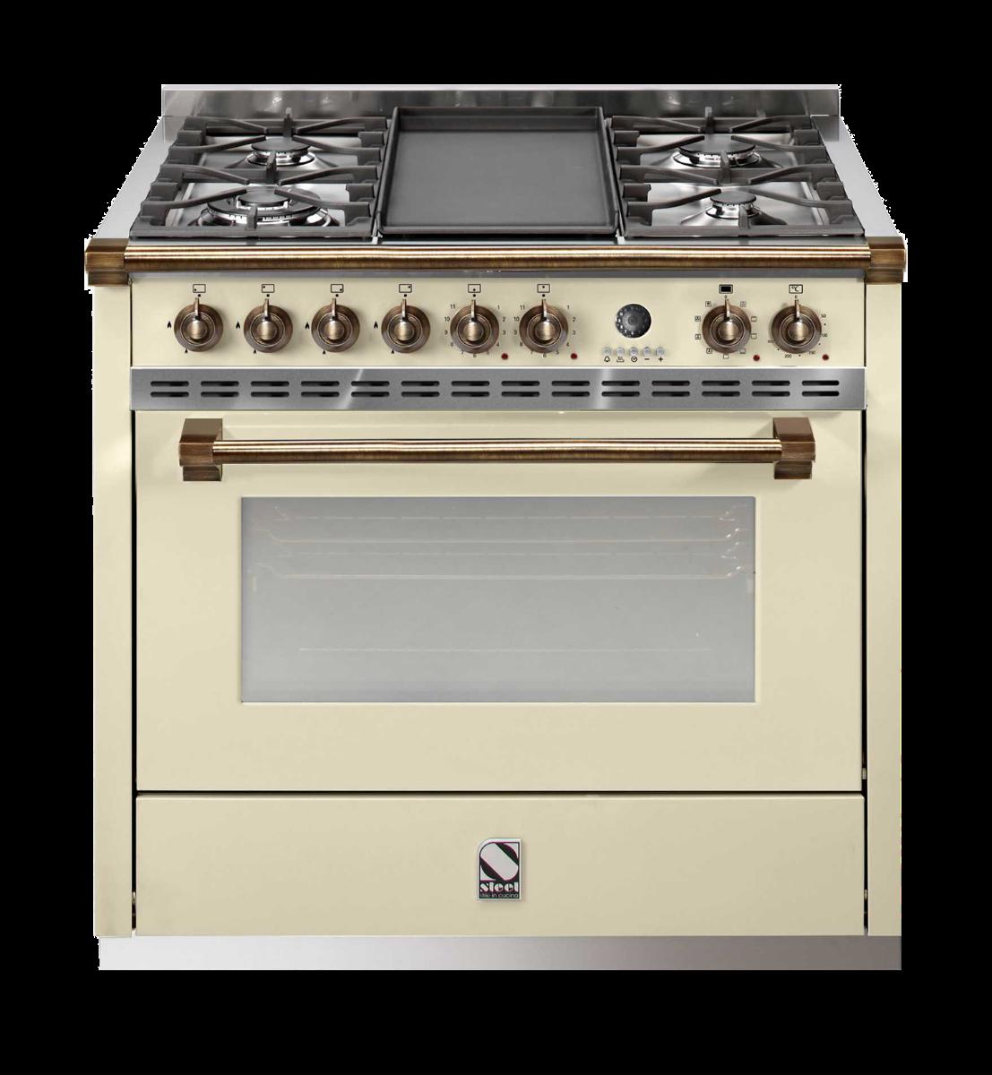 תנור בישול ואפיה משולב Steel דגם Ascot 90 A9F-6 BRONZE