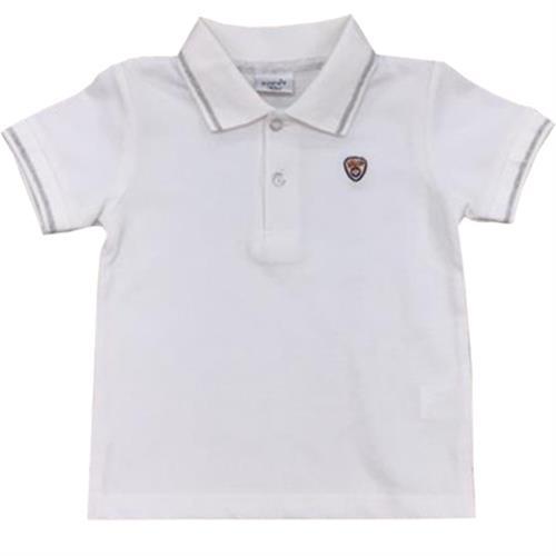 חולצת פולו לבנה פס אפור מלאנג'