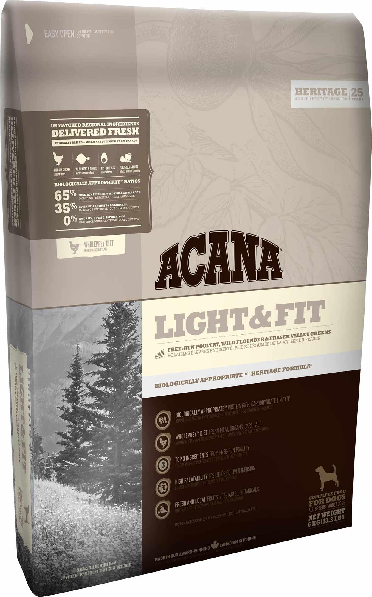 "acana light&fit לייט 6 ק""ג"