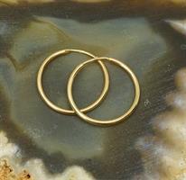 עגילי חישוק קטנים חלקים ומבריקים 2 סמ בזהב צהוב 14 קראט