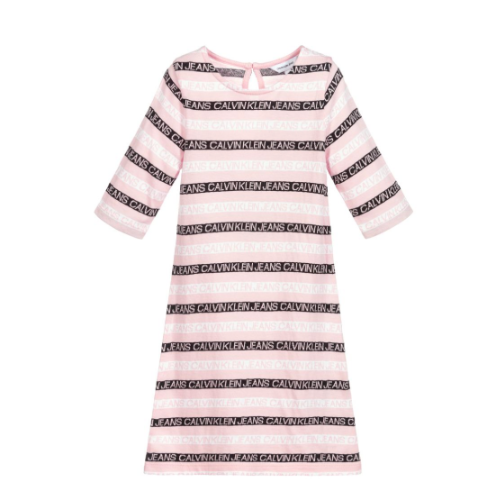 שמלת פסים ורודה CALVIN KLIEN - מידות 4-16