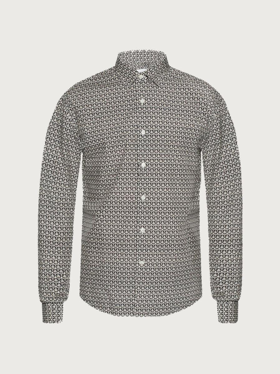 חולצה Salvatore Ferragamo Sport shirt with long sleeves לגברים