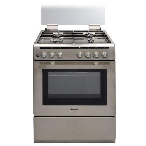 """תנור אפיה 60 ס""""מ משולב כיריים גז בנפח 69 ליטר נירוסטה Normande  ND6262P"""