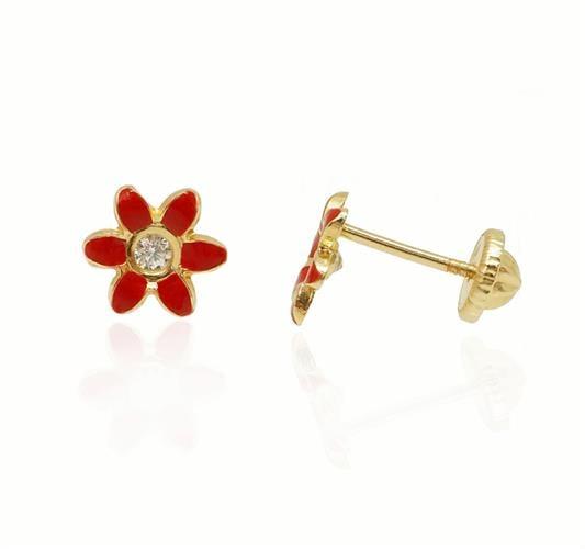 עגילי ילדות זה פרח אמייל אדום