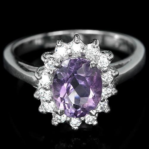 טבעת כסף משובצת אמטיסט סגול וזרקונים RG1743 | תכשיטי כסף 925 | טבעות כסף