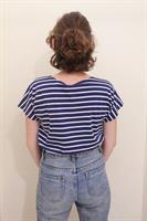 חולצת שרוול פסים כחול לבן