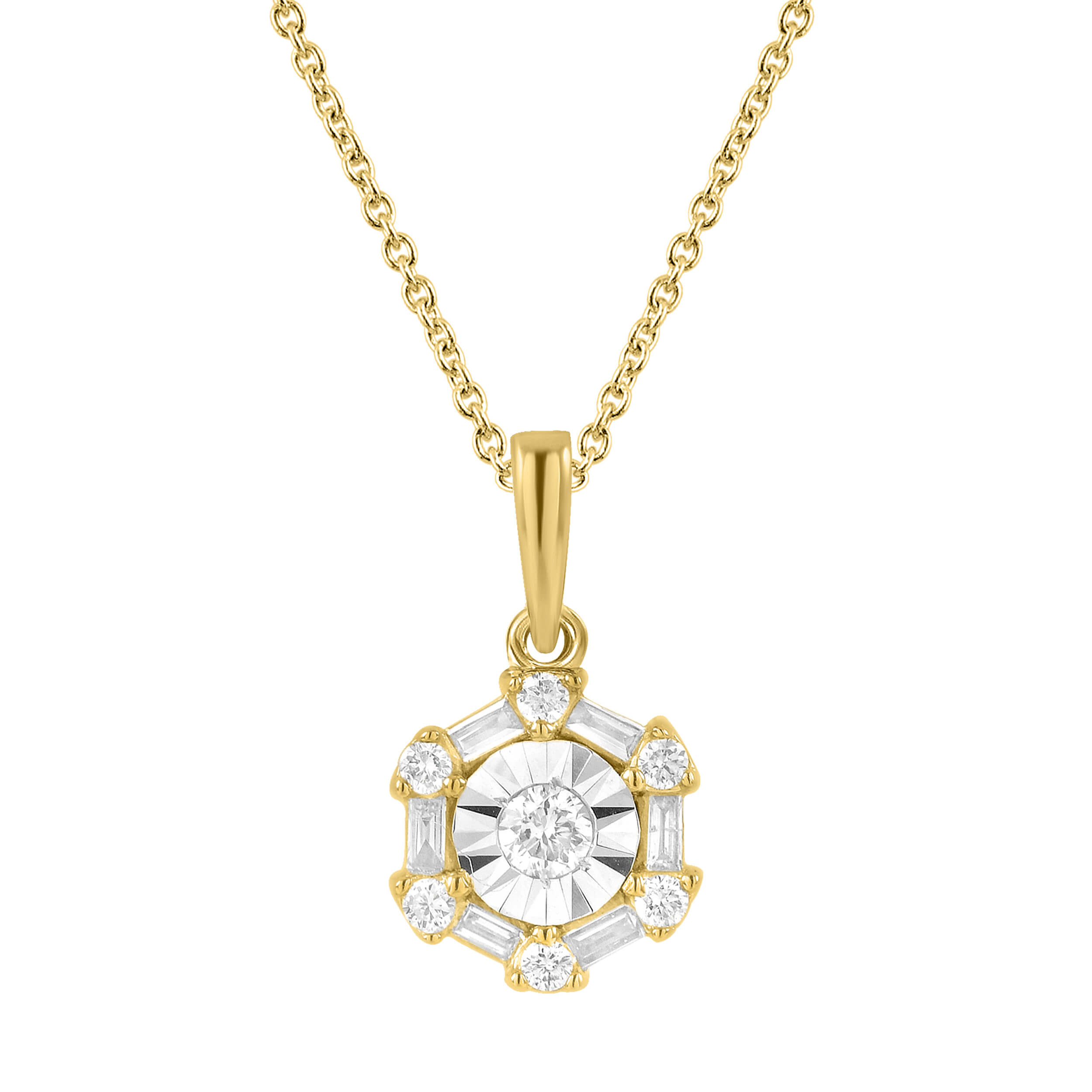 תליון ושרשרת זהב צהוב 14 קראט ירח משובץ יהלומים