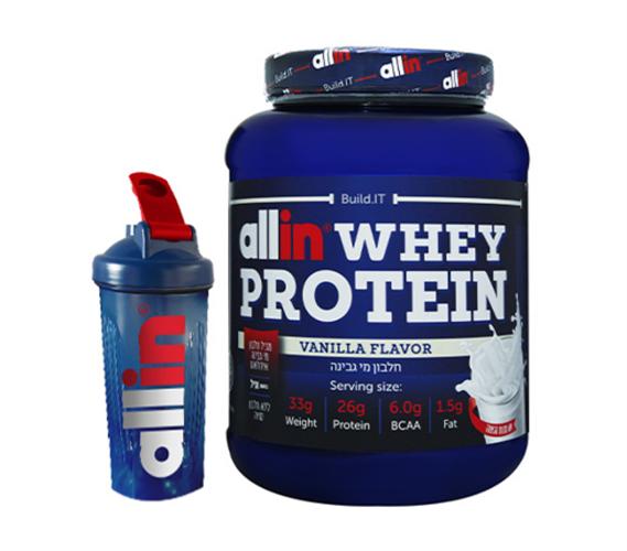 אבקת חלבון אול אין – Allin Whey Protein כשרה-2.27KG+שייקר מתנה!