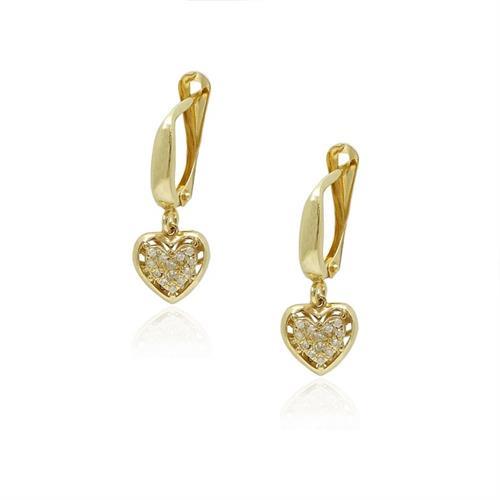 עגילי יהלומים לב מעוטרים נתלים מזהב