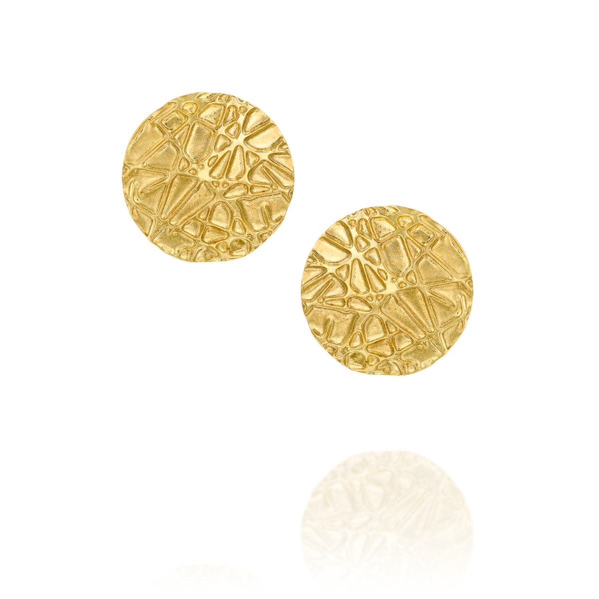 עגיל צמוד זהב 14 קרט עיגול שריטות נועה טריפ noa tripp