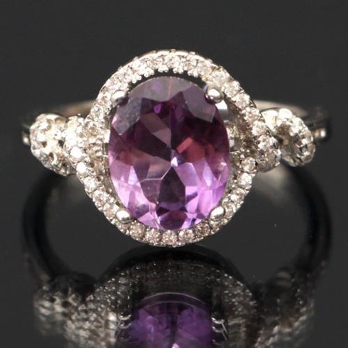 טבעת כסף משובצת אמטיסט סגול וזרקונים RG9174