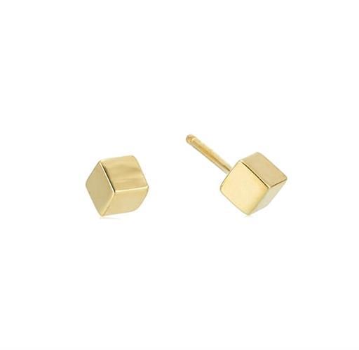 עגילי קוביית זהב 14 קרט