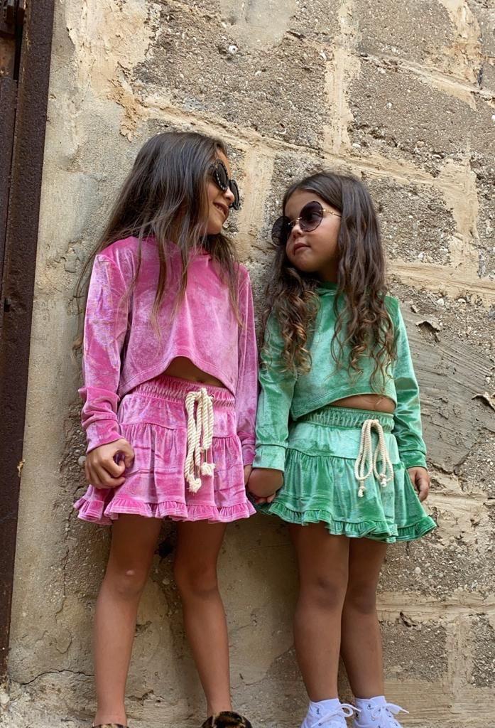 חליפת חצאית קטיפה ורודה MISS KIDS - מידות 2-16