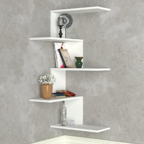מדף מולטי 5 קומות קניקו לבן/חום אגוז