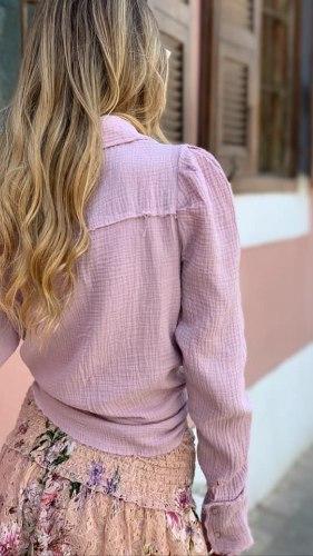 חולצת צווארון שרוול פאף